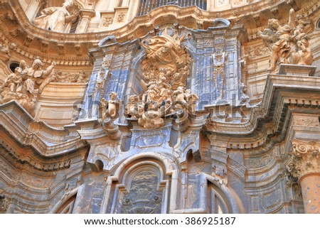Baroque decorations on the facade of the Cathedral Church of Saint Mary in Murcia, Spain