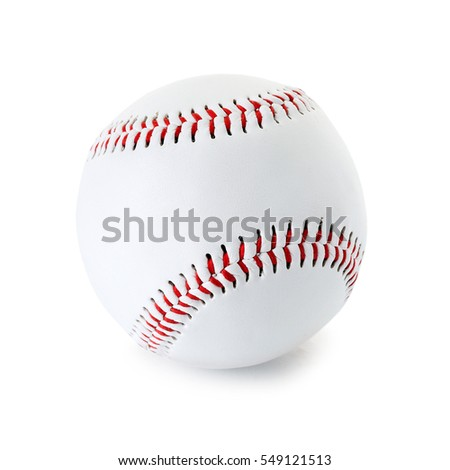 Baseball ball closeup isolated on a white background