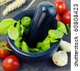 basil, tomato and garlic - stock photo