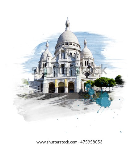 Basilica - Basilique Sacre Coeur, Paris, France. Art with brushes and watercolors.