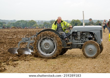BASINGSTOKE, UK  OCTOBER 12, 2014: Roy Jury competing in the British National Ploughing Championships.  Taking part in the Ferguson Ploughing Championship.  Accredited photographer