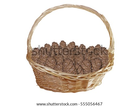 Basket with cedar cones isolated on white background