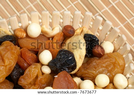 basket with dried fruits and candies