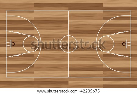 basketball court outline with wooden floor of gymnasium - Basketball Court Outline Wooden Floor Gymnasium Stock Vector