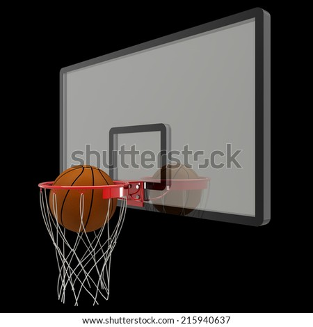 basketball hoop. isolated on black background. 3D image