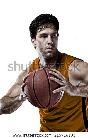 Basketball player on a  orange uniform, on a white background.