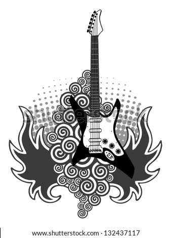 rock music electric guitar made circles stock vector 142499548 shutterstock. Black Bedroom Furniture Sets. Home Design Ideas