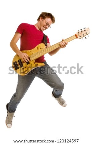 Bass player jumping, isolated over white background