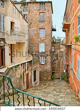 BASTIA, FRANCE - MAY 1, 2013: The bad preserved residential houses in the city centre on May 1 in Bastia.