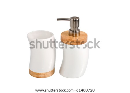 Bathroom accessories isolated on white
