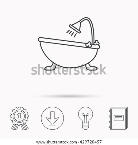 Bathroom Sign In Book bathroom icon bath shower sign linear stock vector 296640320