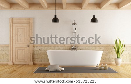 Bathroom in rustic style with modern bathtub - 3d rendering