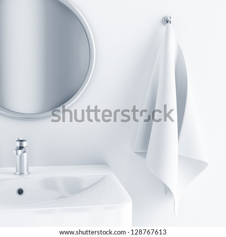 bathroom interior in light colors with a sink and mirror and towel