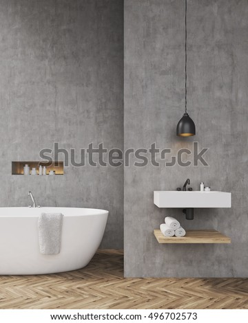 Bathroom interior with bathtub, shelf for towels and sink. Concept of ...