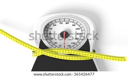 Bathroom scale with measuring tape squeezing it, isolated on white background.