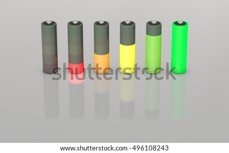 Battery charge level indicators set.Isolated on grey background. 3D rendering illustration.