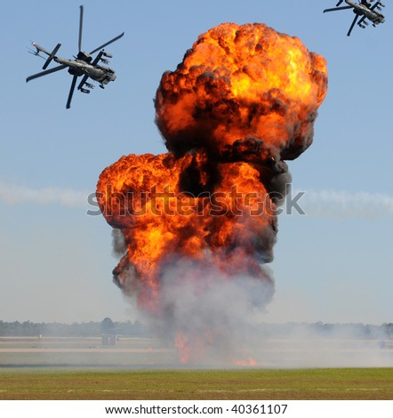 Battle with explosions and helicopter gunships