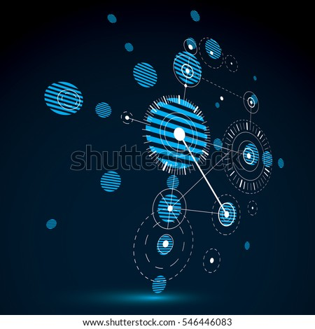 Bauhaus art dimensional composition, perspective blue modular wallpaper with circles and grid. Retro style pattern, graphic backdrop for use as booklet cover template.