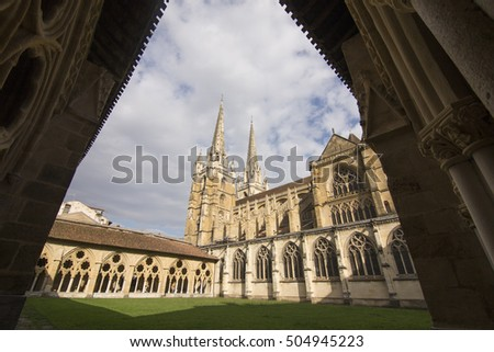 Bayonne in Aquitaine, on October 14, 2016 in France St Mary the gothic cathedral Cloister of Sainte-Marie