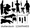 BBQ (barbecue), chef, spit, pork, beef, skewer silhouettes. Raster version - stock photo