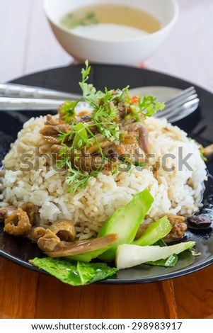 BBQ duck over steamed rice - Thai food