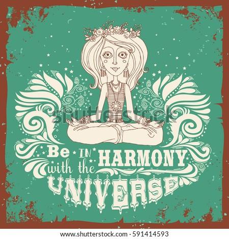 be harmony universe meditation girl lotus stock vector