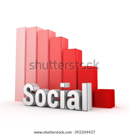 Be social or die! Word Social against the red falling graph. 3D illustration image