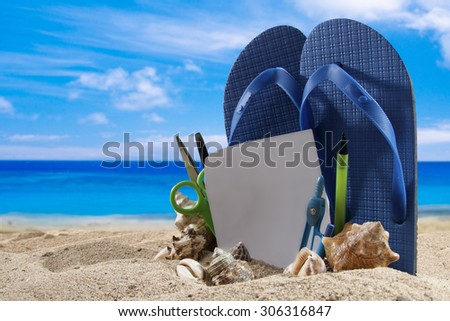 Beach accessories for summer background