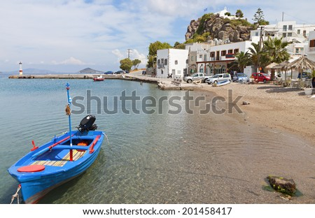 Beach at the Scala port of Patmos island in Greece