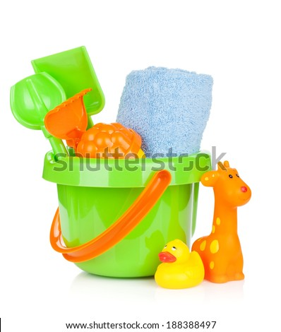 Beach baby toys and towel. Isolated on white background