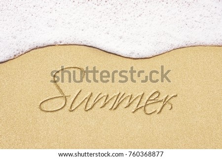 Beach Background With Summer Written In Sand Wave And Border