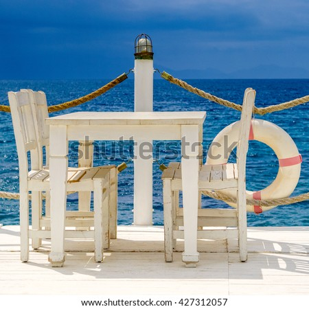 Outdoor Cafe On Terrace In Marine Style. Summer