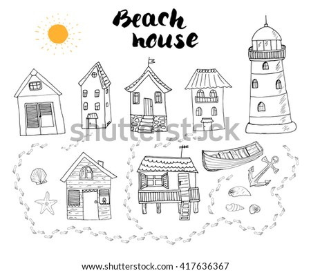 Old windmill drawing stock vector 85074334 shutterstock for Beach house drawing
