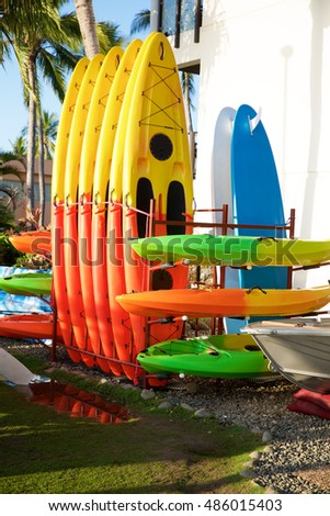 Beach kayaks - colorful