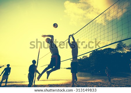 Beach Volleyball at Sunset Enjoyment Concept