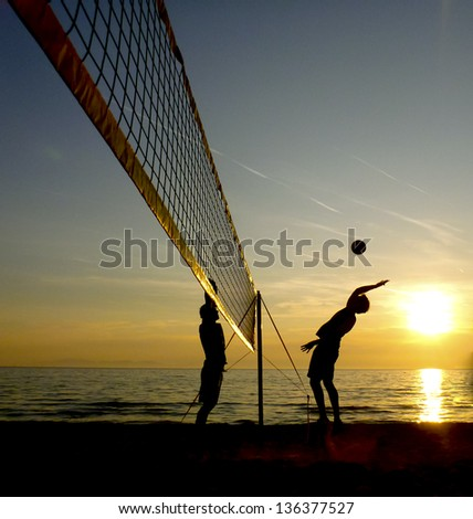 beach volleyball - silhouette