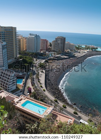Beaches and hotels of Puerto de la Cruz, Tenerife, Spain
