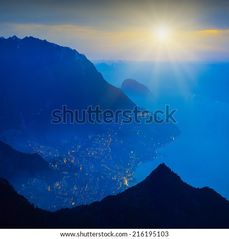 Beautifu sunrise above Yalta city on a Black sea coast of Crimea, Ukraine