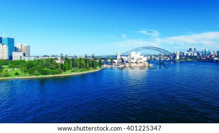 Beautiful aerial view of Sydney skyline.