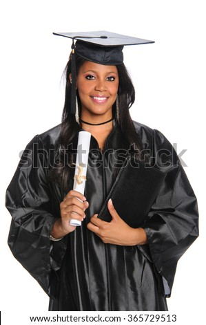 Beautiful African American woman holding diploma isolated over white background