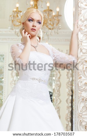 beautiful and fashion bride in luxury interior