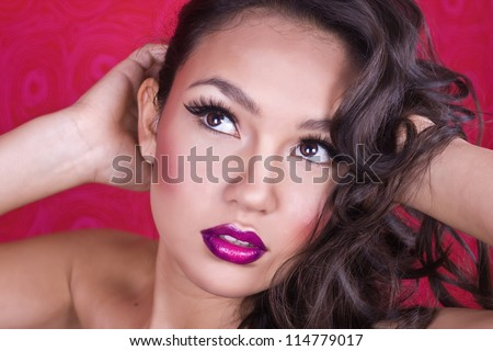 beautiful and sexy woman with gorgeous makeup and hair