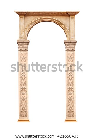 Beautiful antique arch isolated on white background