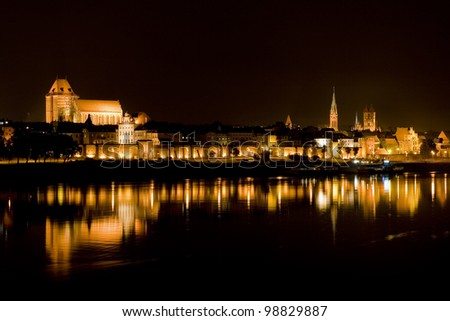 Beautiful architecture of Torun city in Poland at night