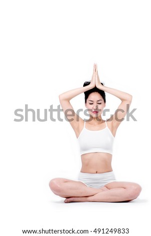 beautiful asian woman,sports girl,doing yoga isolated on white background