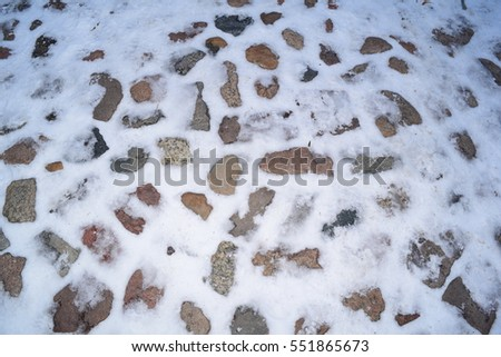 Beautiful background of rocks in the winter in Park city