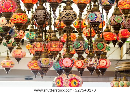 beautiful background with colorful lamps arabic style of decorating