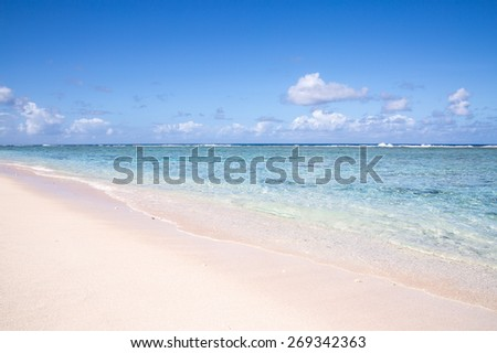beautiful beach and tropical sea in Guam on clear day