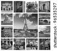 Beautiful black and white photos of the Eiffel tower in Paris and other famous places. Collage - stock photo
