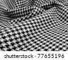 Beautiful black and white wool houndstooth swirled - stock photo